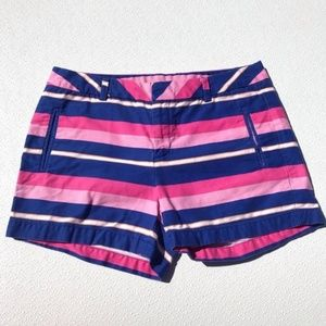 "Mid Rise 3.5"" Stylus Pink Navy Striped Shorts 8"